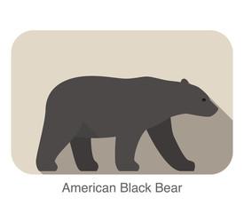 American Black Bear, animal walking flat icon design