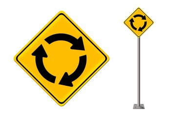 Roundabout crossroad road traffic sign