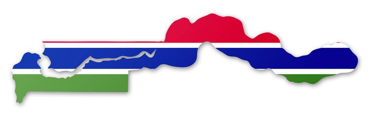 Carte et drapeau de la Gambie