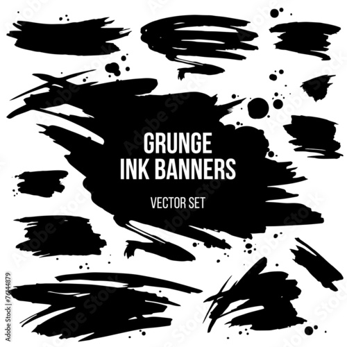 Canvas Vormen vector set of black grunge spots