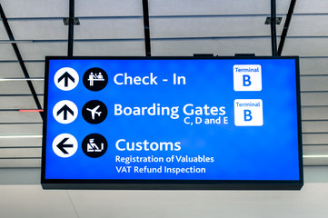 Info sign at international airport - Directions boarding gates