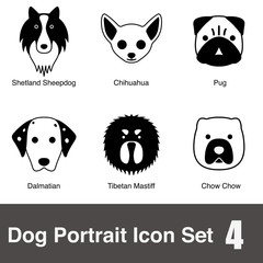 Dog breed face flat icon series