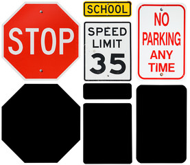 Signs: Stop, Speed Limit and No Parking Signs with Alpha Channel