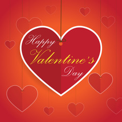 Happy Valentine's Day - greeting card, drop down tag- vector