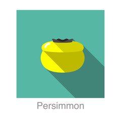 Persimmon fruit flat icon design