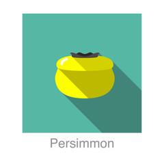 Persimmon fruit flat icon design