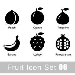 Fruit black icon design set