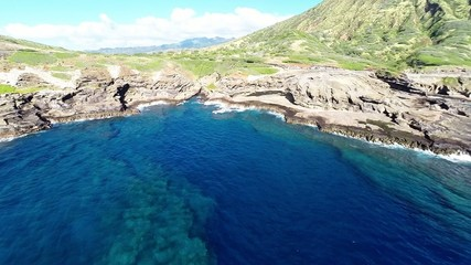 Aerial of Oahu's scenic south shore on a clear day