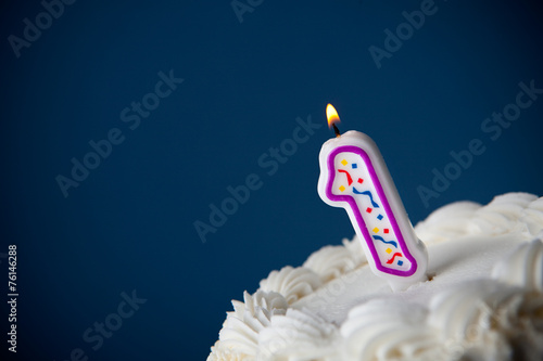 Cake: Birthday Cake With Candles For 1st Birthday - 76146288
