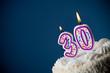 Leinwandbild Motiv Cake: Birthday Cake With Candles For 30th Birthday