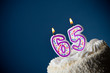 Cake: Birthday Cake With Candles For 65th Birthday - 76146476