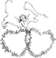 Vintage Illustration Cupid hearts