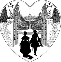 Vintage Illustration couple heart