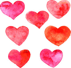 set of hearts painted by watercolor