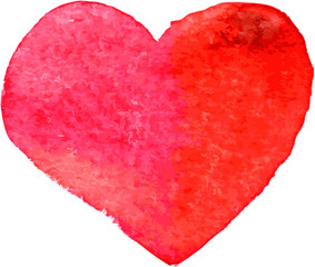 red heart painted by watercolor