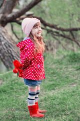 little girl with tulips outdoor