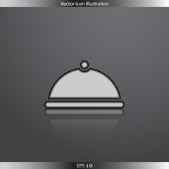 Vector restaurant cloche web flat icon