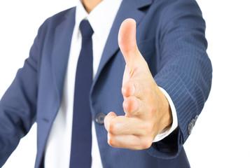 Businessman Finger Gun Isolated on White Background