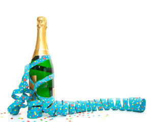Champagne bottle with party utensils