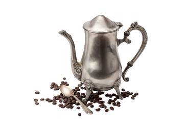 vintage coffee pot, spoon and coffee isolated