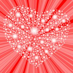 serce z refleksów na czerwonym tle