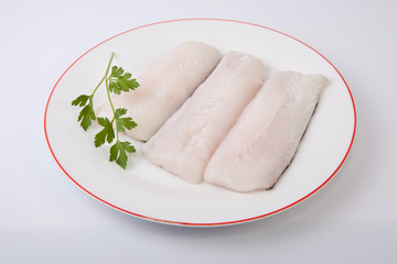 Hake steaks on plate