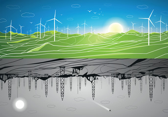 Energy panorama, green and polluting energy, windmills, oil