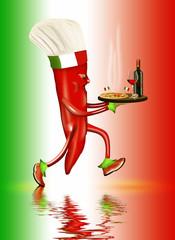 Pizza Italien, Chilimännchen als Pizzabote