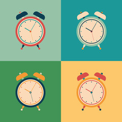 Colorful set of retro alarm clocks.