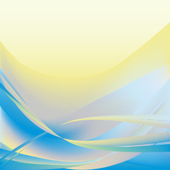 Yellow and blue light waves abstract background horizontal