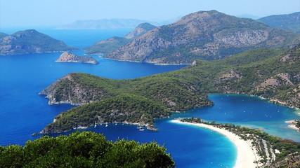 Panorama of coast oludeniz landscape  mediterranean sea turkey