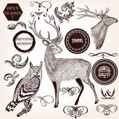 Collection of hand drawn animals, labels and flourishes in vinta