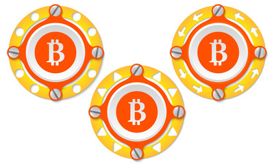 Set of three icons with perforated ring and bit coin symbol