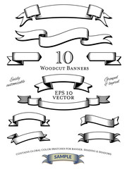 Woodcut engraved banners vector collection