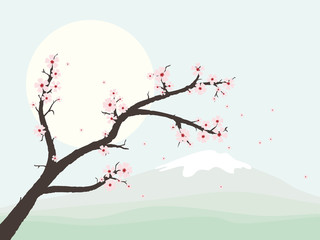 Landscape with cherry blossom branch vector