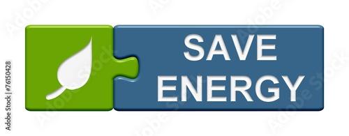 Leinwandbild Motiv Puzzle Button: Save energy