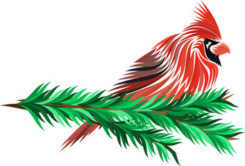 Red Cardinal on christmas tree