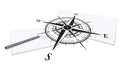 compass background and paper