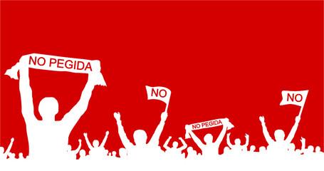 Menschengruppe gegen Pegida