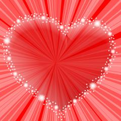 czerwone serce i refleksy na czerwonym tle
