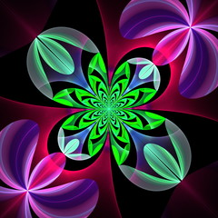Diagonal symmetrical pattern of the flower petals. Green and vio