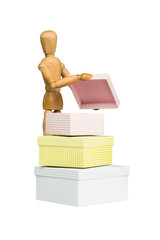 Wooden mannequin opens little box