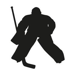 Hockey goalie. Vector silhouette