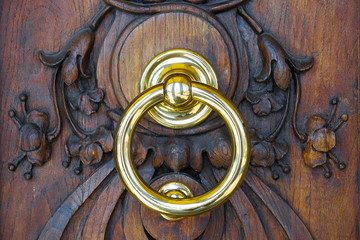 knocker in a wooden door
