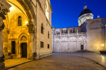 illuminated entrance of Rector's palace in Dubrovnik. Croatia.