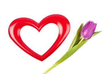 heart photoframe and tulip