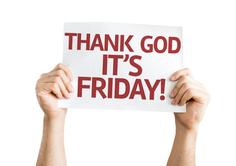 Thank God It's Friday card isolated on white background