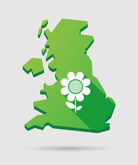 United Kingdom map icon with a flower