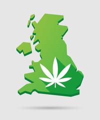United Kingdom map icon with a marijuana leaf