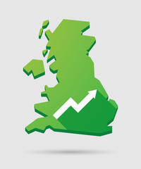 United Kingdom map icon with a graph